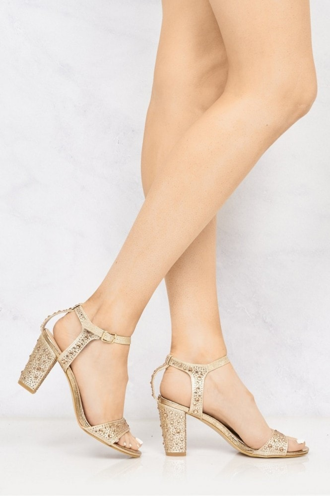 Palisse Diamante Stud Anklestrap Sandal In Champagne