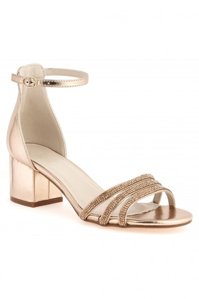 Miss Diva Walk It Off Block Heel 3 Dia Straps Sandal in Rose Gold