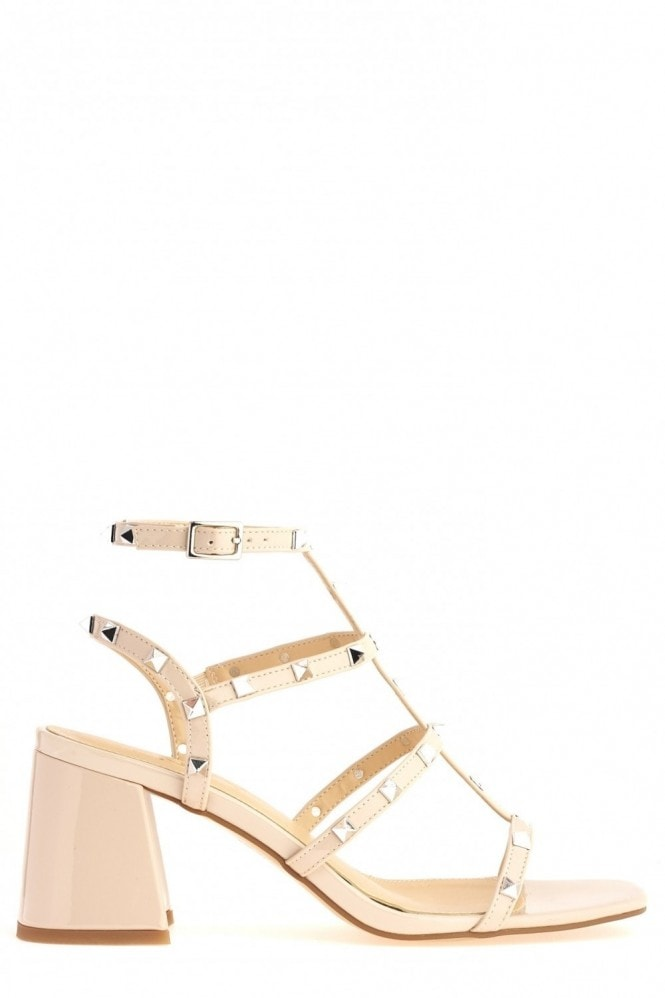 Miss Diva Pitter Studded Strappy Block Heel Sandal in Nude Patent