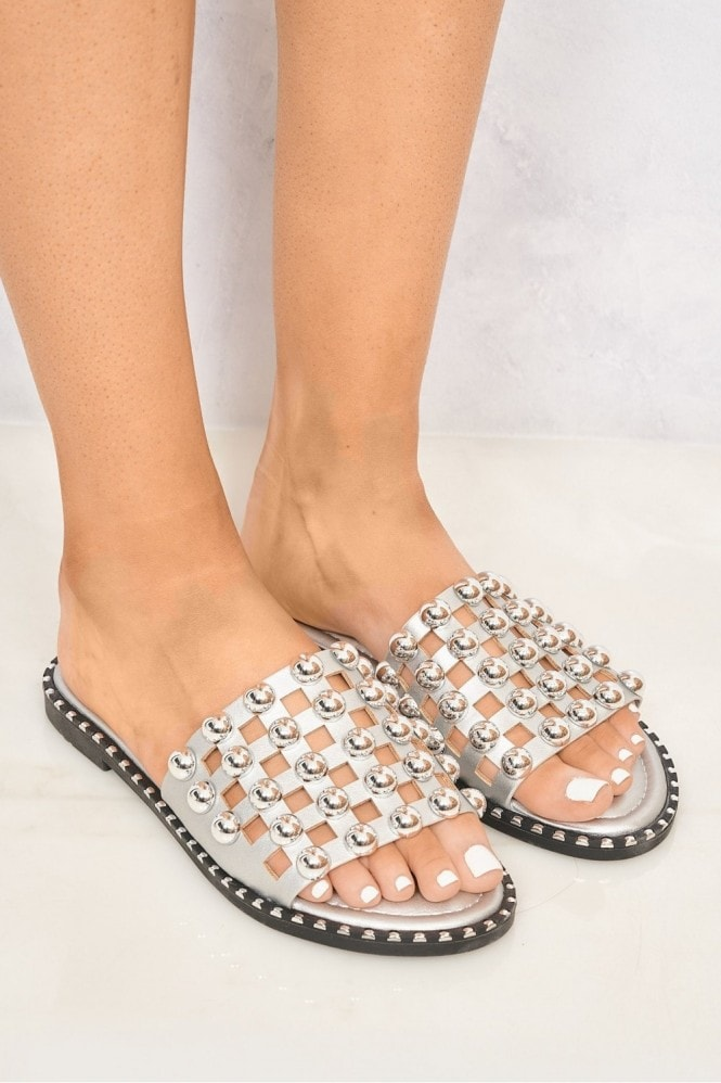 Shakira Stud Caged Detail Open Toe Flat Sliders in Silver