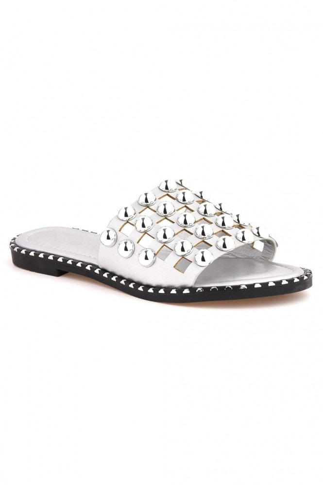 Miss Diva Shakira Stud Caged Detail Open Toe Flat Sliders in Silver