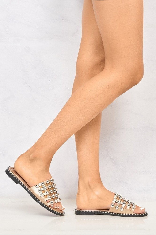 Miss Diva Shakira Stud Caged Detail Open Toe Flat Sliders in Rose Gold