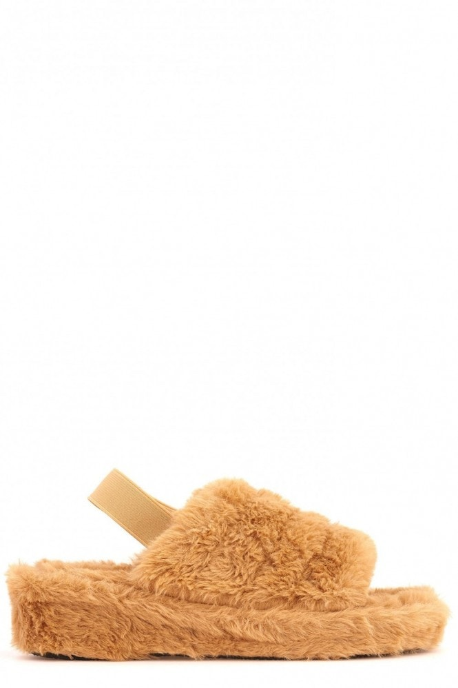 Miss Diva BooBoo Fluffy Band Sandal in Mocha