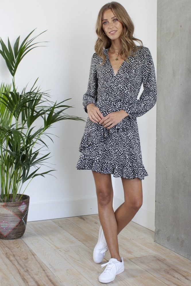 HEY YOU Long Sleeve Mini Wrap Dress in Black Print Satin