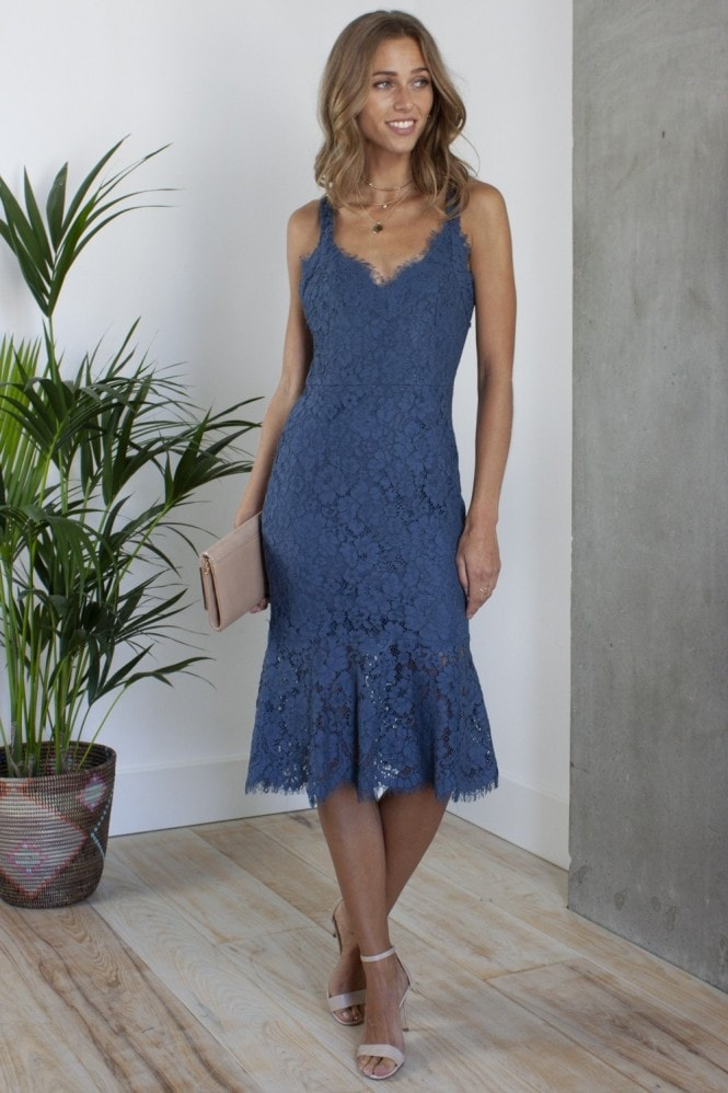 HEY YOU Peplum Hem Fitted Lace Midi Dress in Navy Blue
