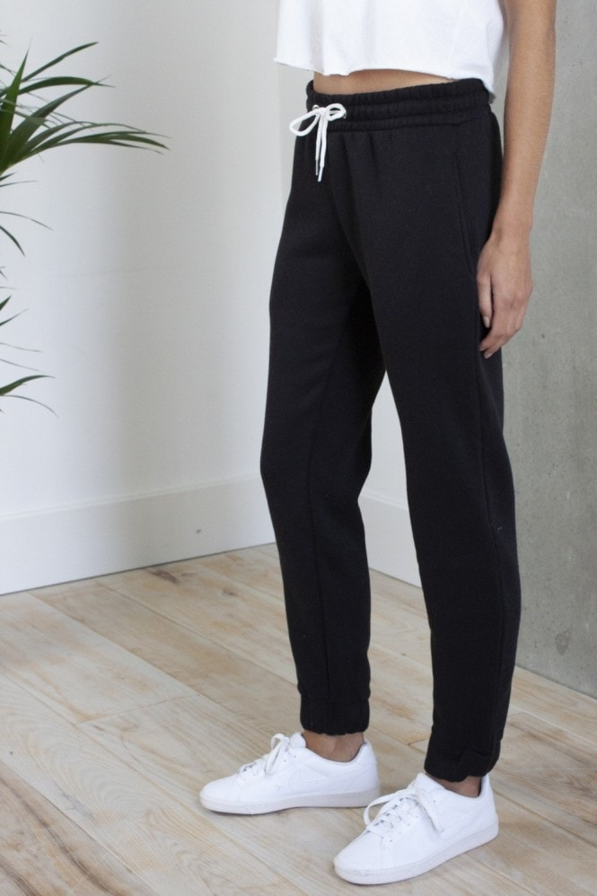 HEY YOU Black Plain Joggers with Contrast White Drawstring
