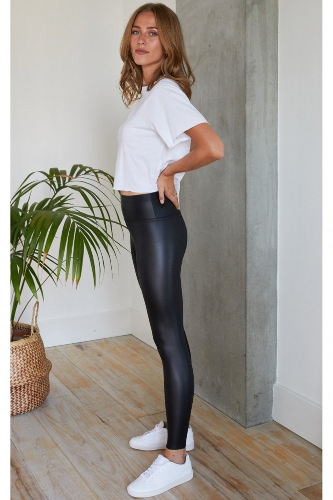 HEY YOU Ruched Detail 'Push Up' Leather Look Leggings