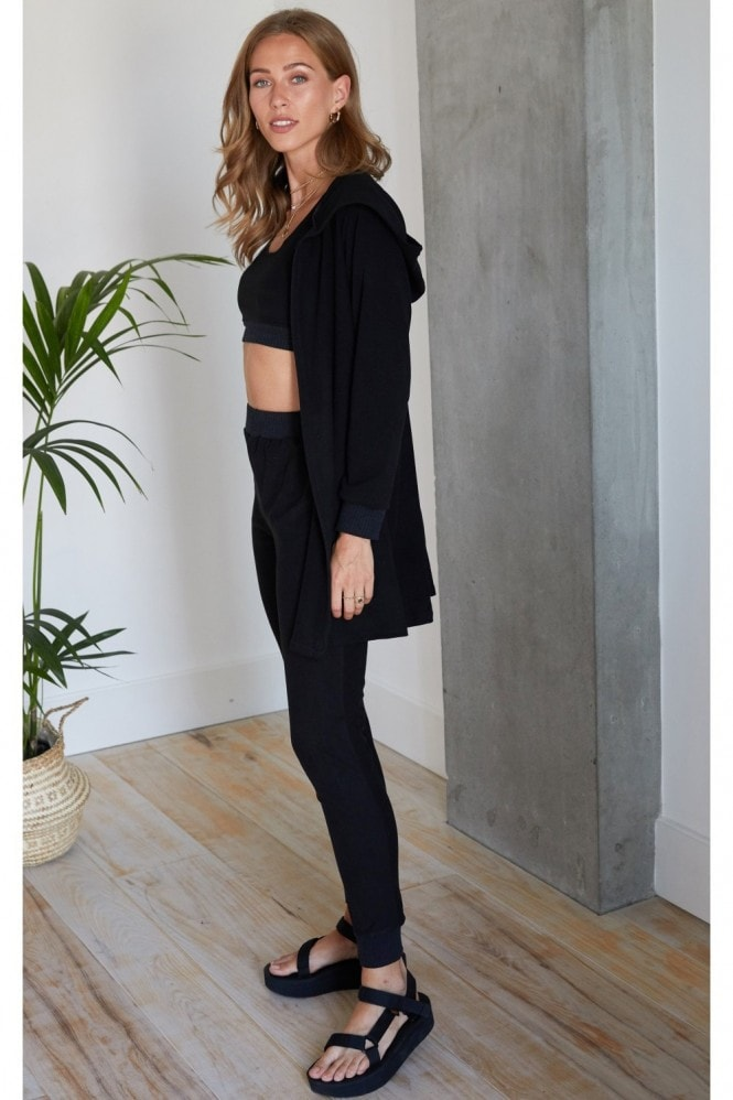 HEY YOU Black Soft Touch Three Piece Crop Top, Jogging Bottom and Cardigan Set