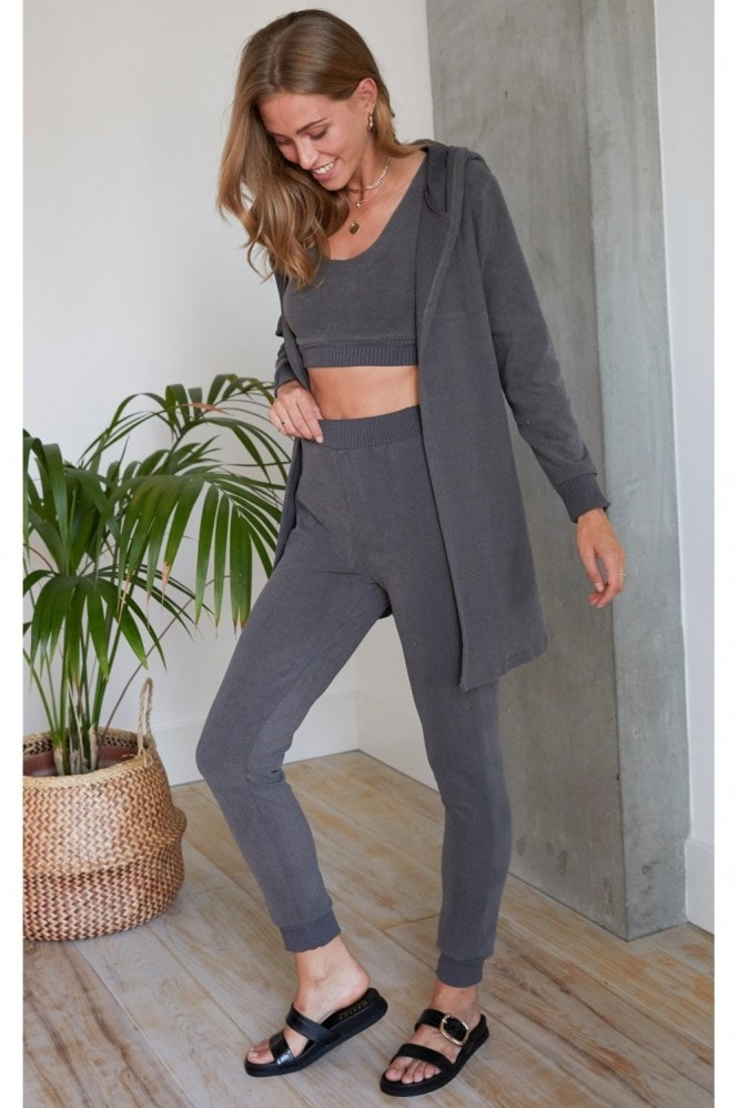 HEY YOU Grey Soft Touch Three Piece Crop Top, Jogging Bottom and Cardigan Set