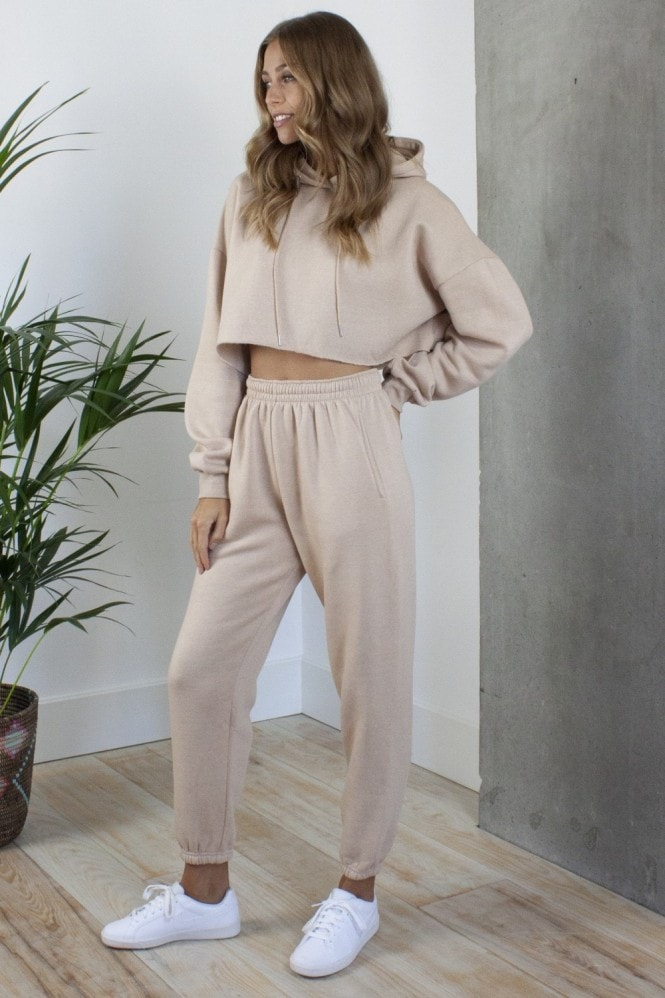 HEY YOU Relaxed Tracksuit Joggers and Crop Hoodie in Beige