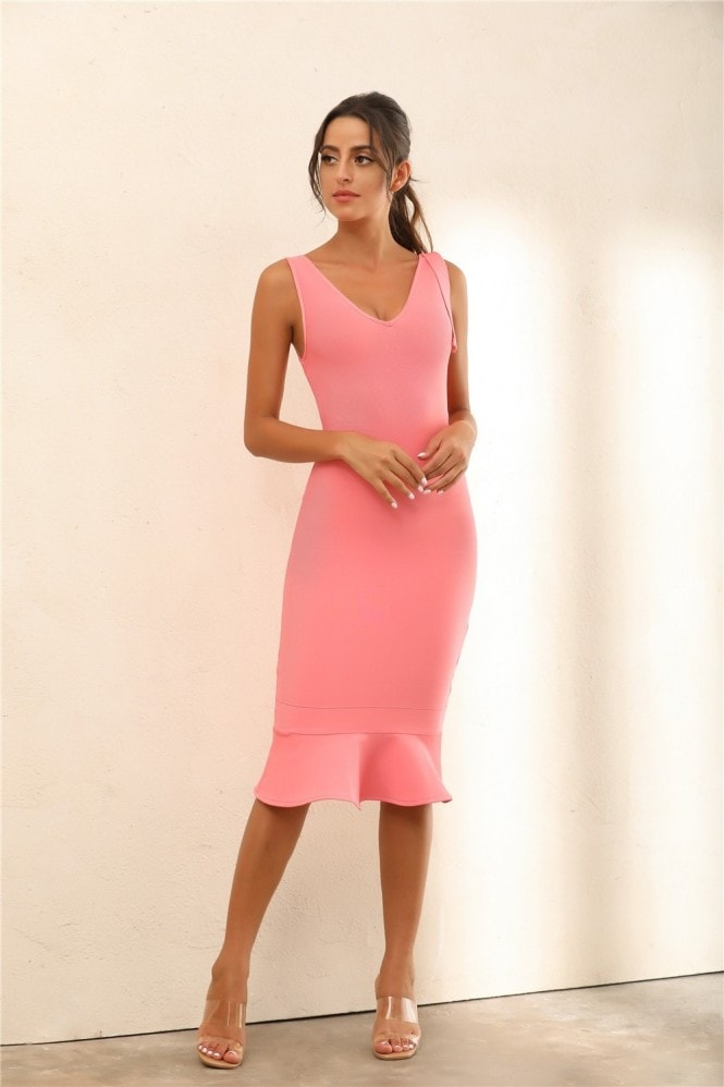 Miss Floral Draped Detail Mermaid Bodycon Bandage Midi Dress In Pink