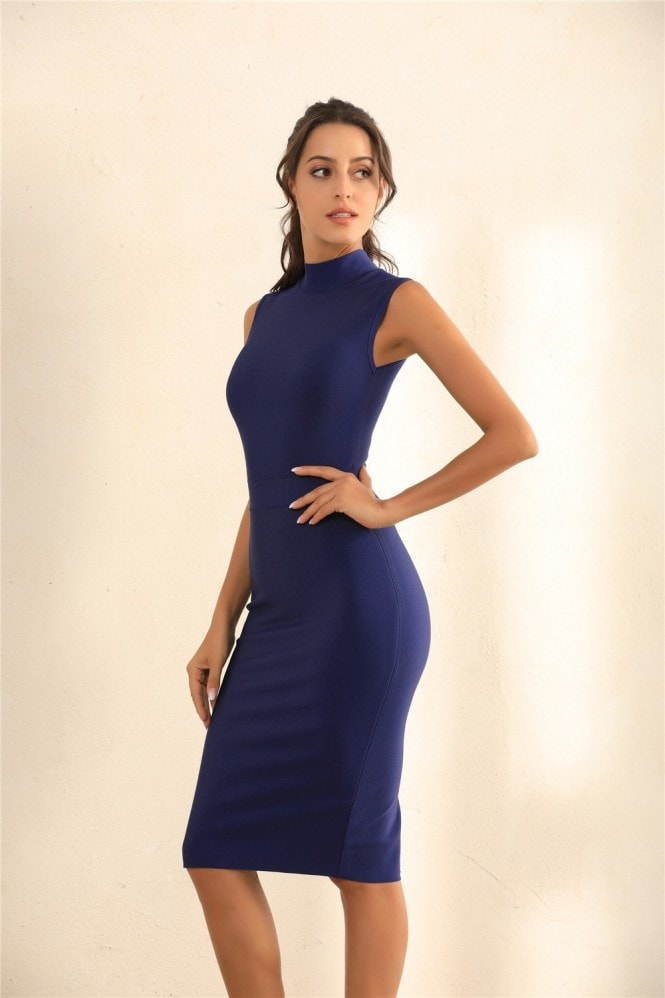Miss Floral Turtle Neck Bodycon Bandage Midi Dress In Blue
