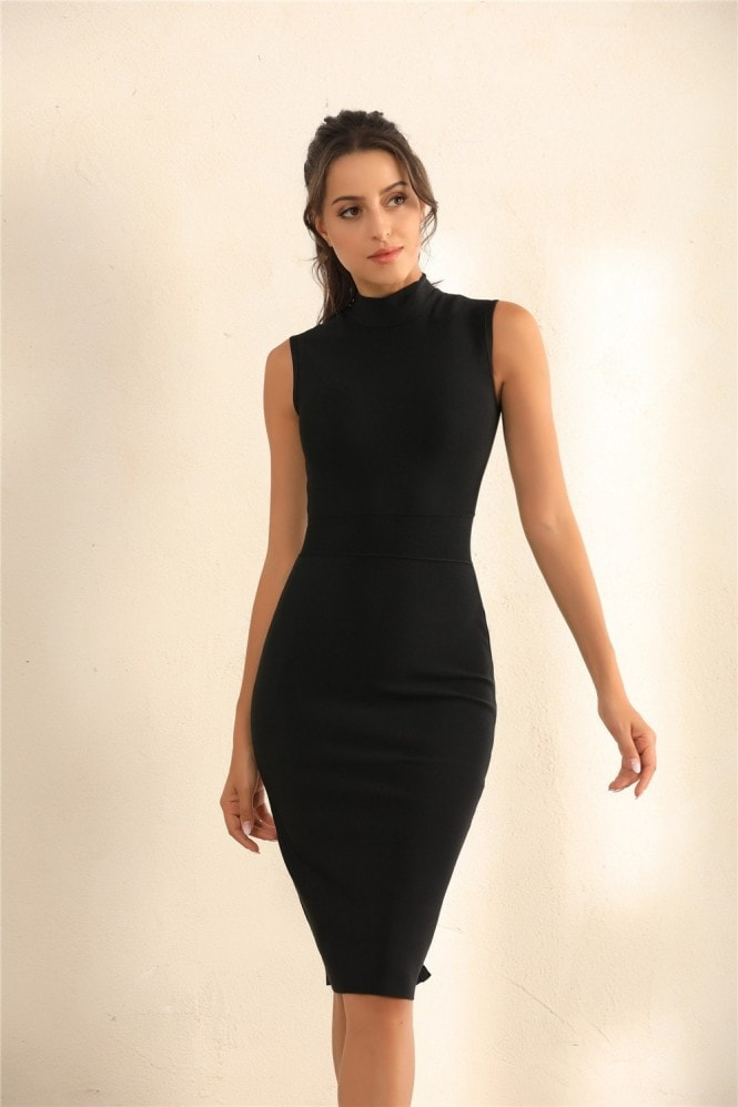 Miss Floral Turtle Neck Bodycon Bandage Midi Dress In Black