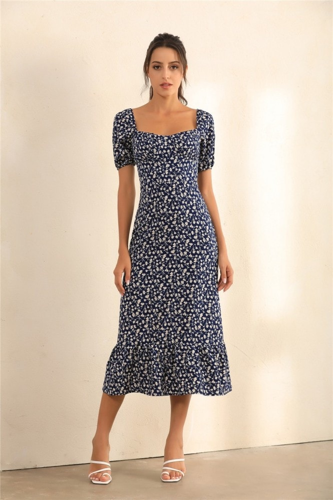 Miss Floral Floral Print Puff Shoulder | Bardot Ruffle Hem Midi Dress In Navy