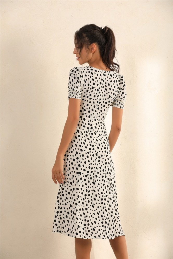 Miss Floral Dalmatian Spot Print Puff Shoulder Split Midi Dress In White