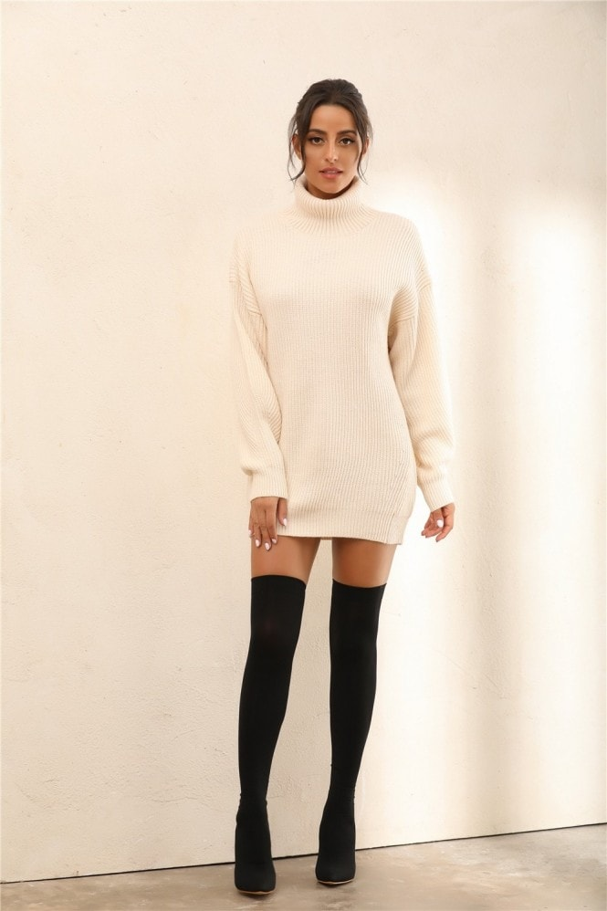 Miss Floral Roll Neck Knitted Jumper | Mini Dress In Nude