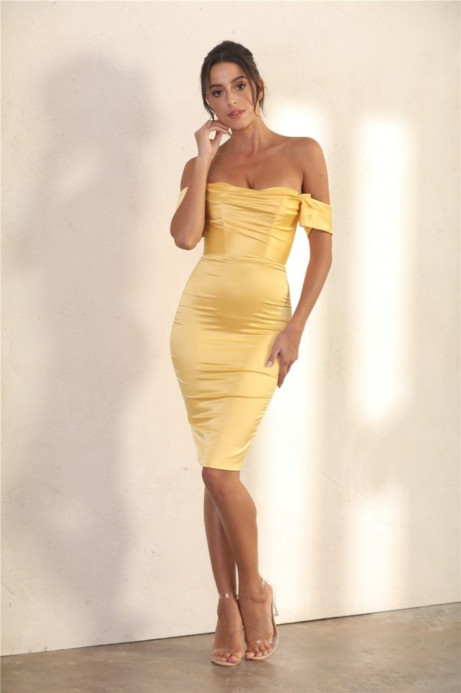 Miss Floral Off Shoulder Bodycon Dress In Yellow Satin