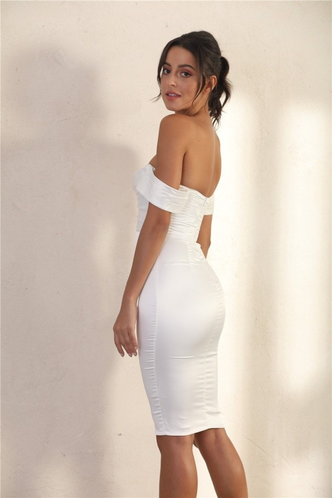 Miss Floral Off Shoulder Bodycon Dress In White Satin