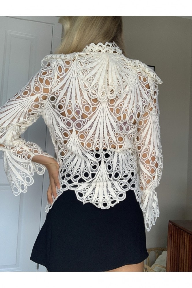 Cream Crochet Frill Shirt
