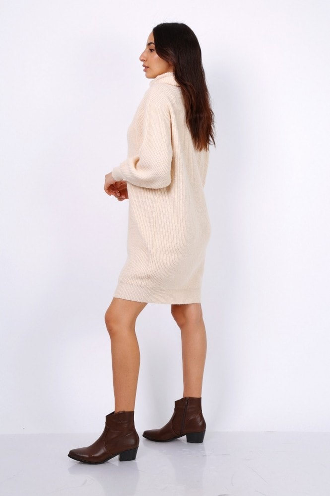 Lilura London Oversized Chunky Knit Jumper Dress With Roll Neck In Beige