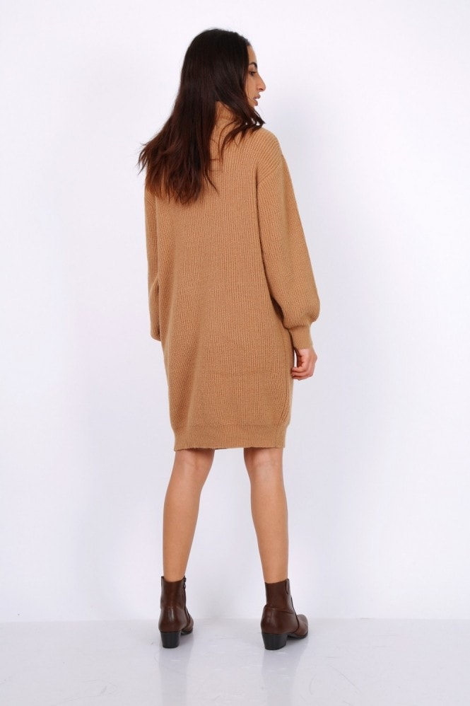 Lilura London Oversized Chunky Knit Jumper Dress With Roll Neck In Camel