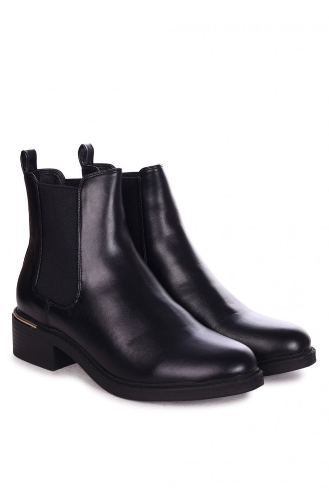 Linzi MYTH - Black Nappa Classic Chelsea Boot With Gold Heel Trim