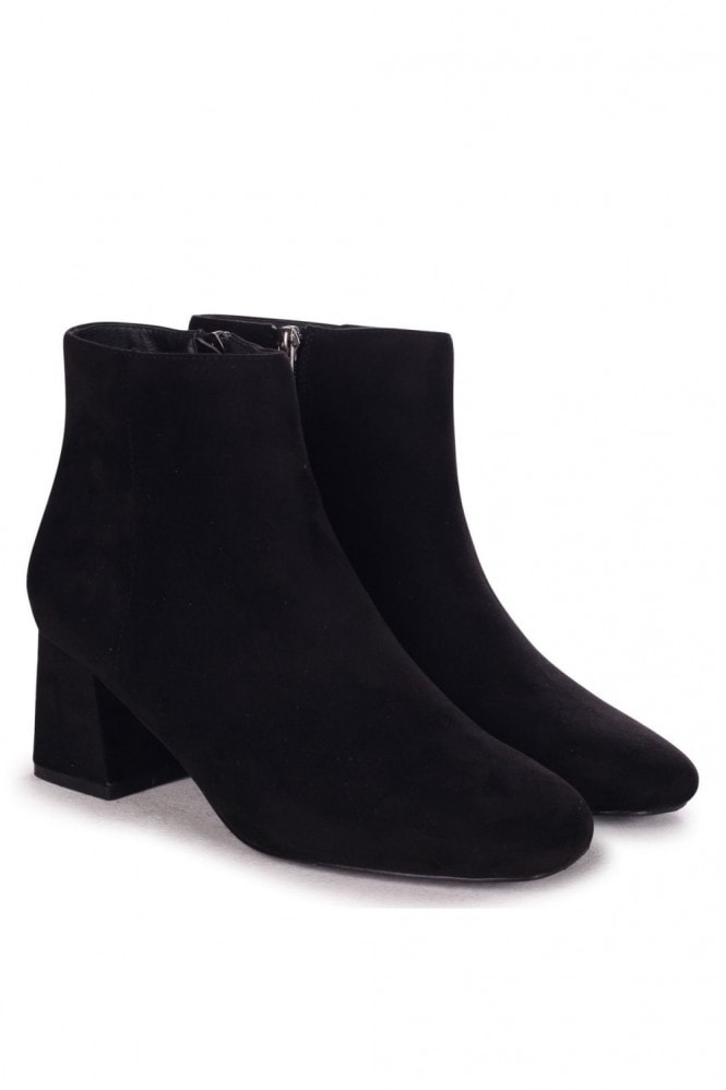 Linzi VERSE - Black Suede Block Heel Ankle Boot