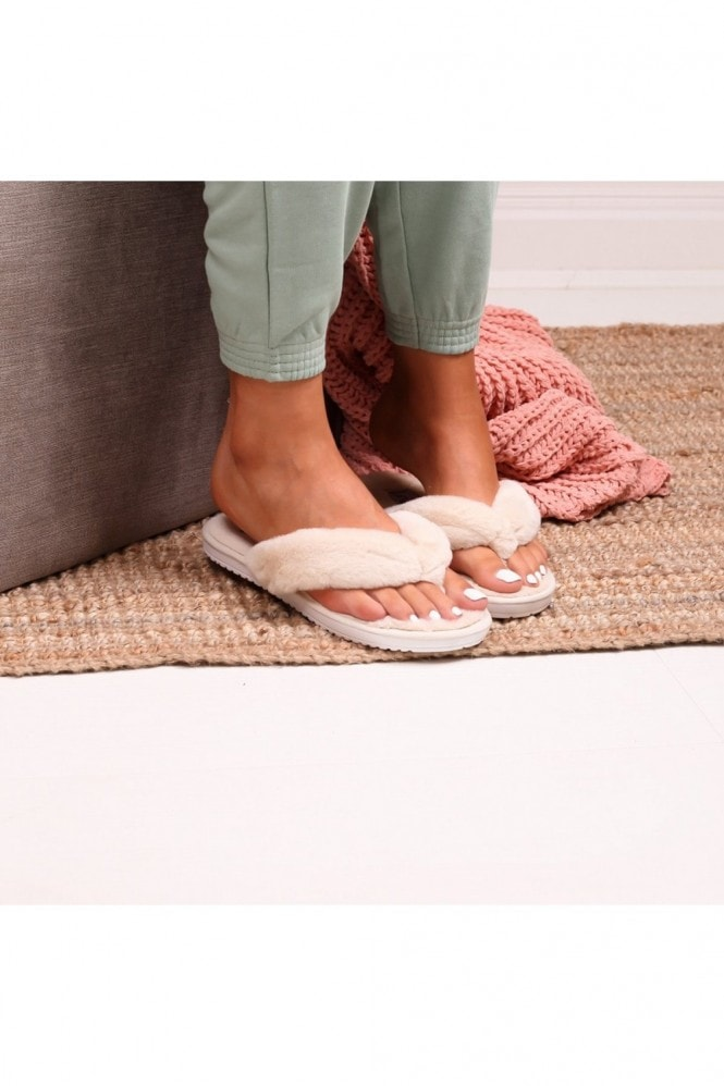 Linzi DREAM - Beige Fluffy Toe Post Slippers
