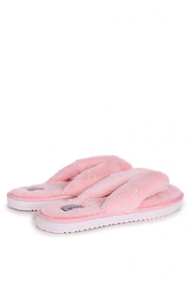 Linzi DREAM - Pink Fluffy Toe Post Slippers