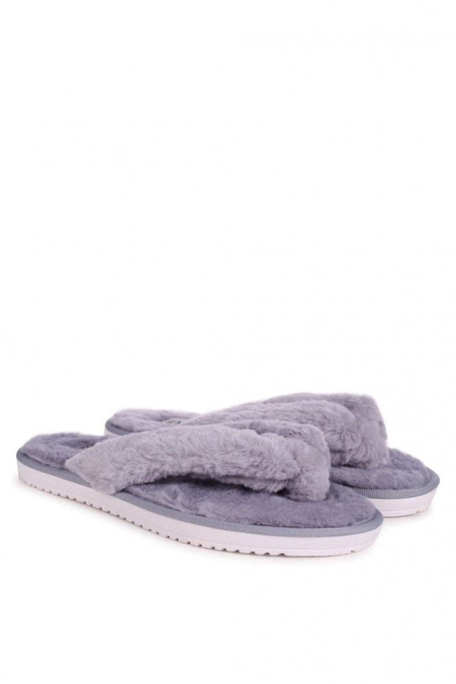 Linzi DREAM - Grey Fluffy Toe Post Slippers