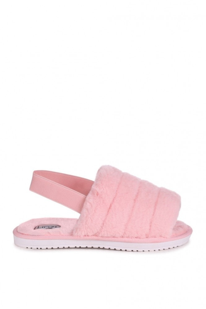 Linzi FLURRY - Pink Fluffy Slingback Slippers