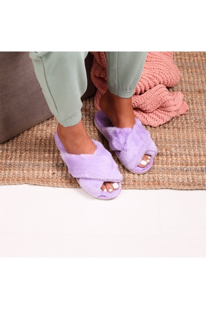 Linzi CLOUD - Lilac Fluffy Crossover Slippers