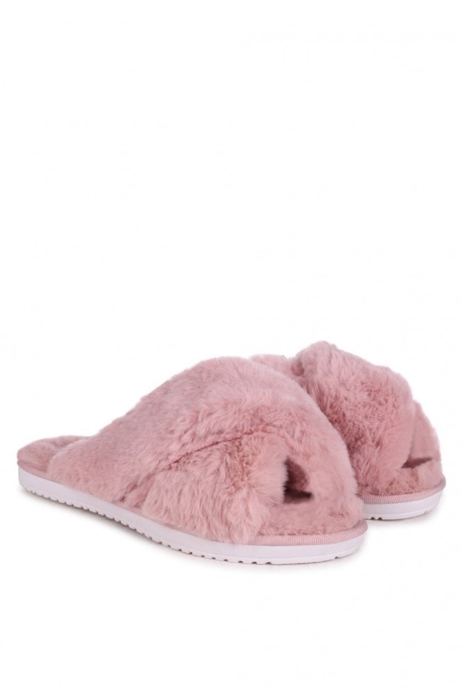 Linzi CLOUD - Dusky Pink Fluffy Crossover Slippers