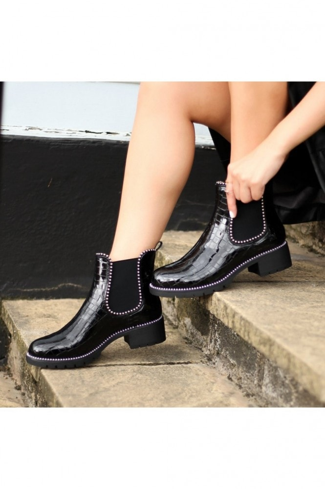 Linzi ALANNA - Black Croc Patent Classic Chelsea Boot With Studded Detail