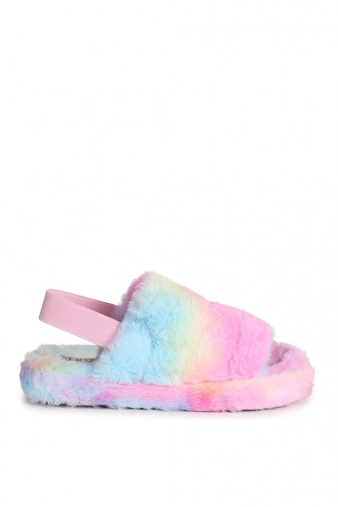 Linzi COMFY - Tie Dye Fluffy Slingback Slippers With Platform Sole