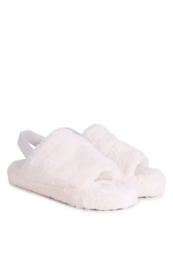 Linzi COMFY - White Fluffy Slingback Slippers With Platform Sole