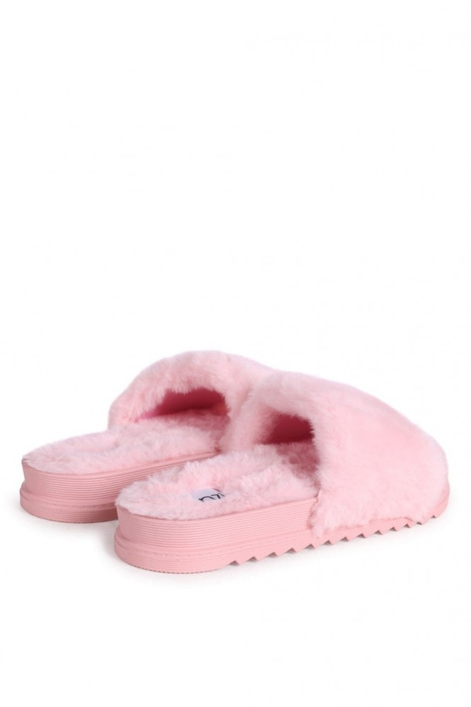 Linzi FLUFFY - Pink Fluffy Open Toe Slippers With Cleated Sole