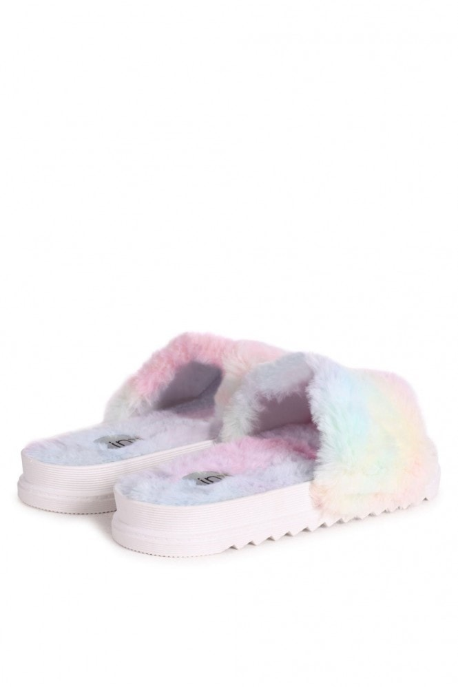 Linzi FLUFFY - Tie Dye Fluffy Open Toe Slippers With Cleated Sole