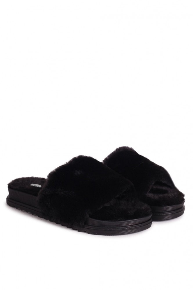 Linzi FLUFFY - Black Fluffy Open Toe Slippers With Cleated Sole