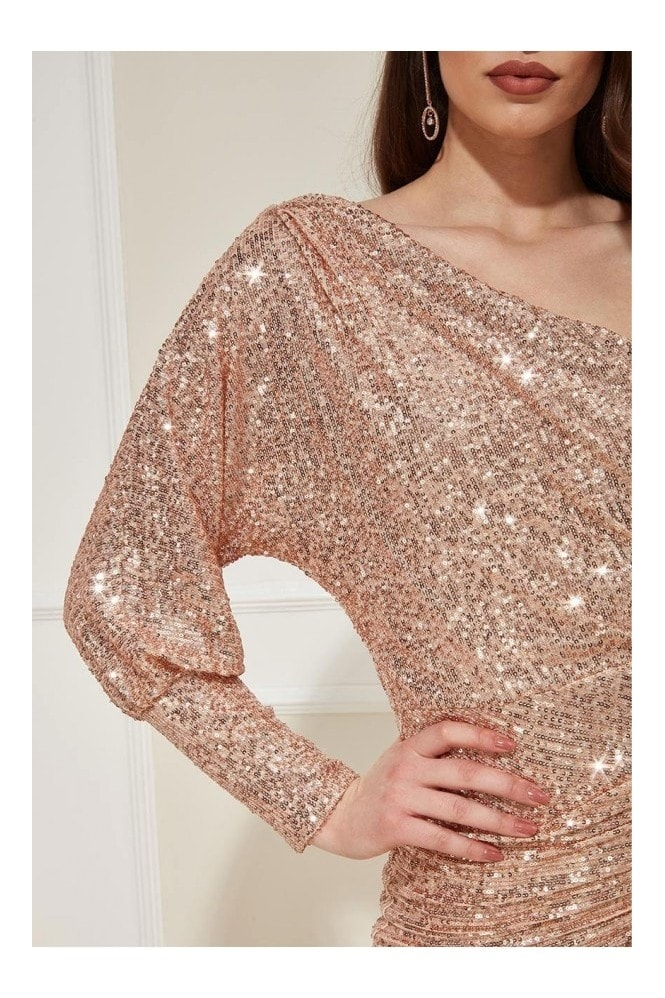 Goddiva One Sleeve Sequin Maxi Dress - Champagne
