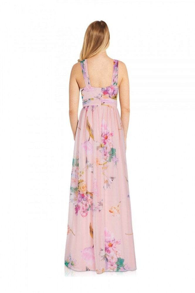 Adrianna Papell Floral Printed Chiffon Gown