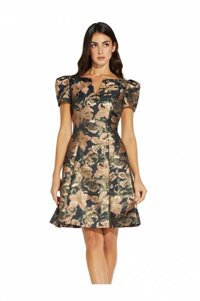 Adrianna Papell Lily Jacquard Fit And Flare Dress