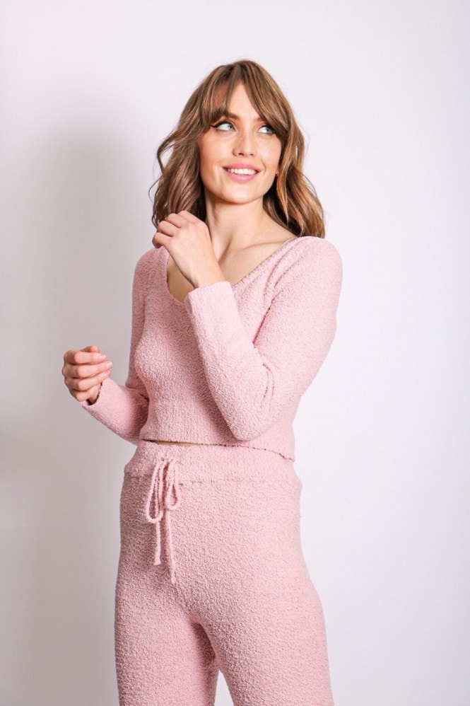 Pink Fluffy Two Piece Lounge Co-ord