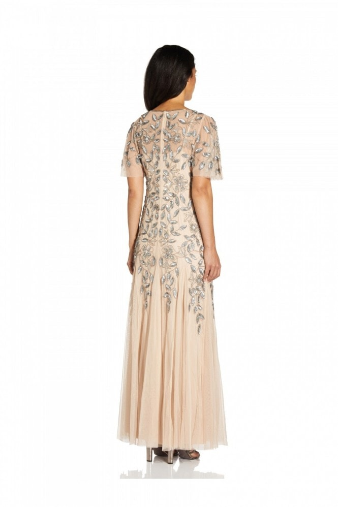 Adrianna Papell Beaded Long Gown