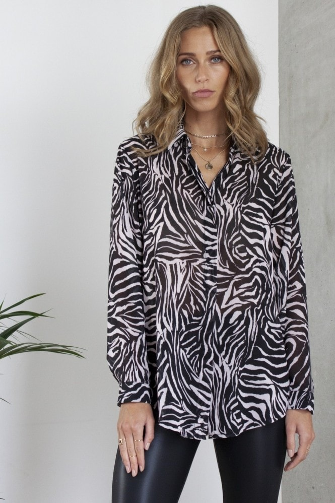HEY YOU Zebra Print Shirt / Blouse