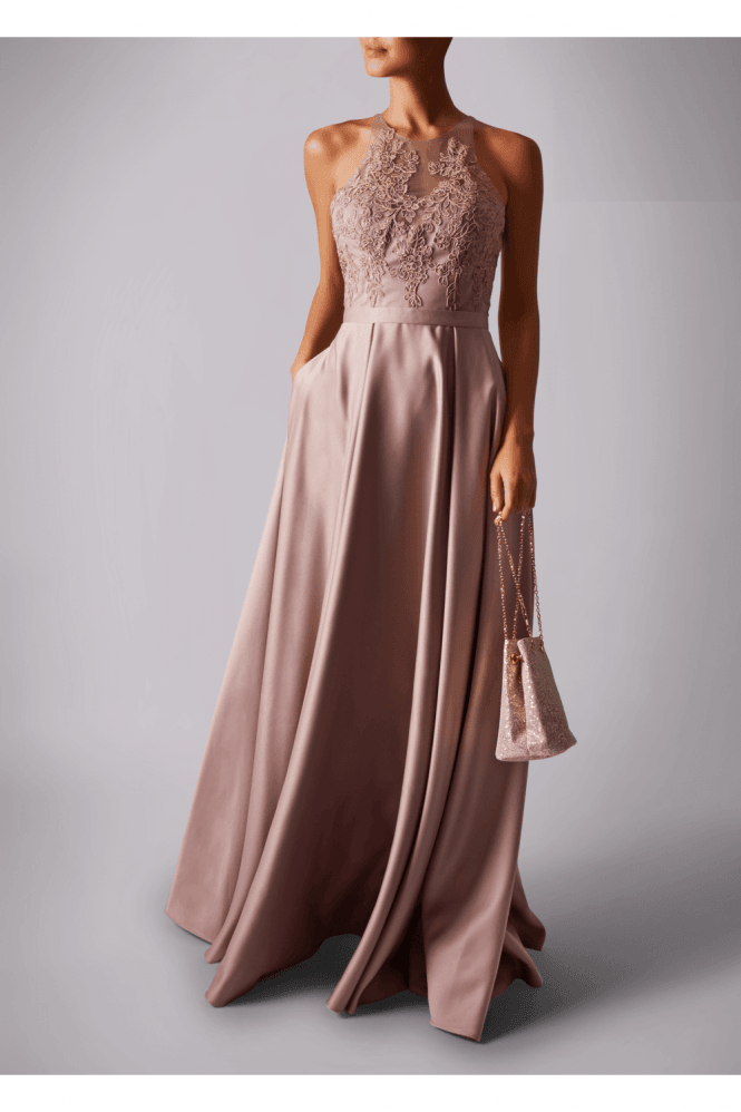 MASCARA LONDON SATIN POCKET LACE EMBROIDED MAXI DRESS