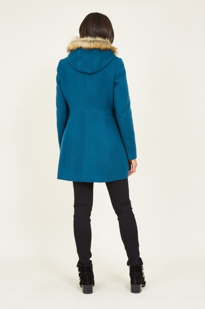 YUMI Teal Duffle Coat With Pom-Poms