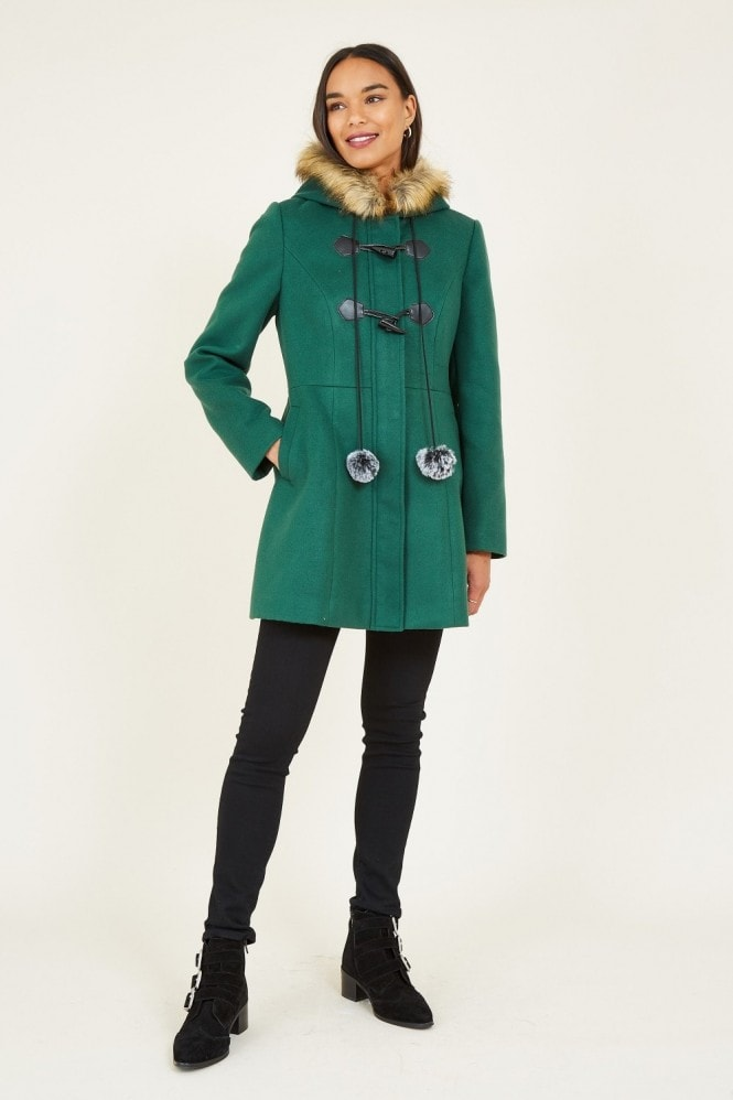 YUMI Green Duffle Coat With Pom-Poms