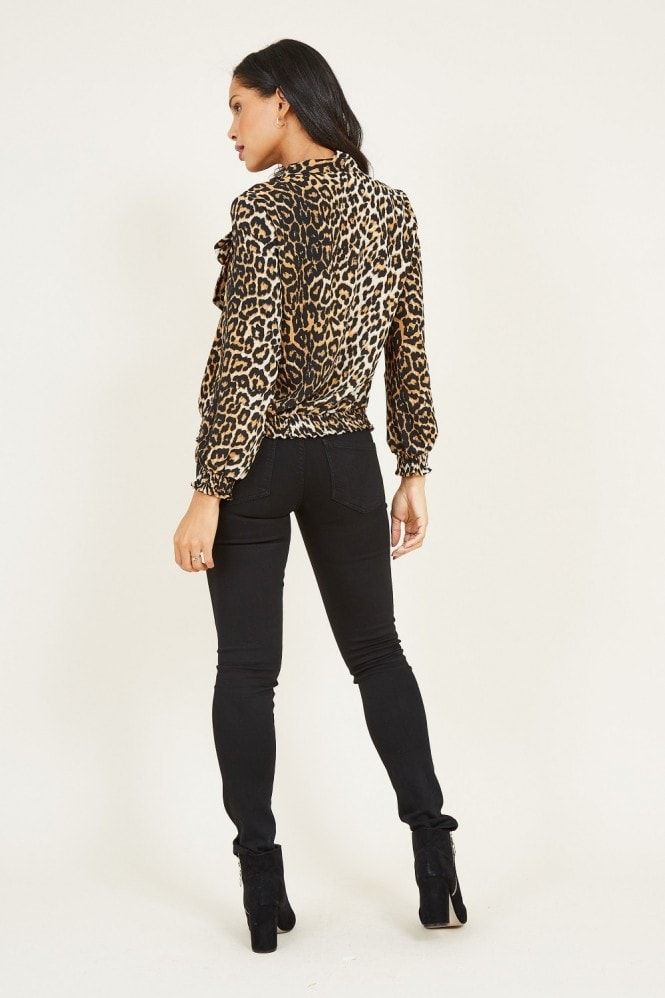 MELA Brown Leopard Blouse