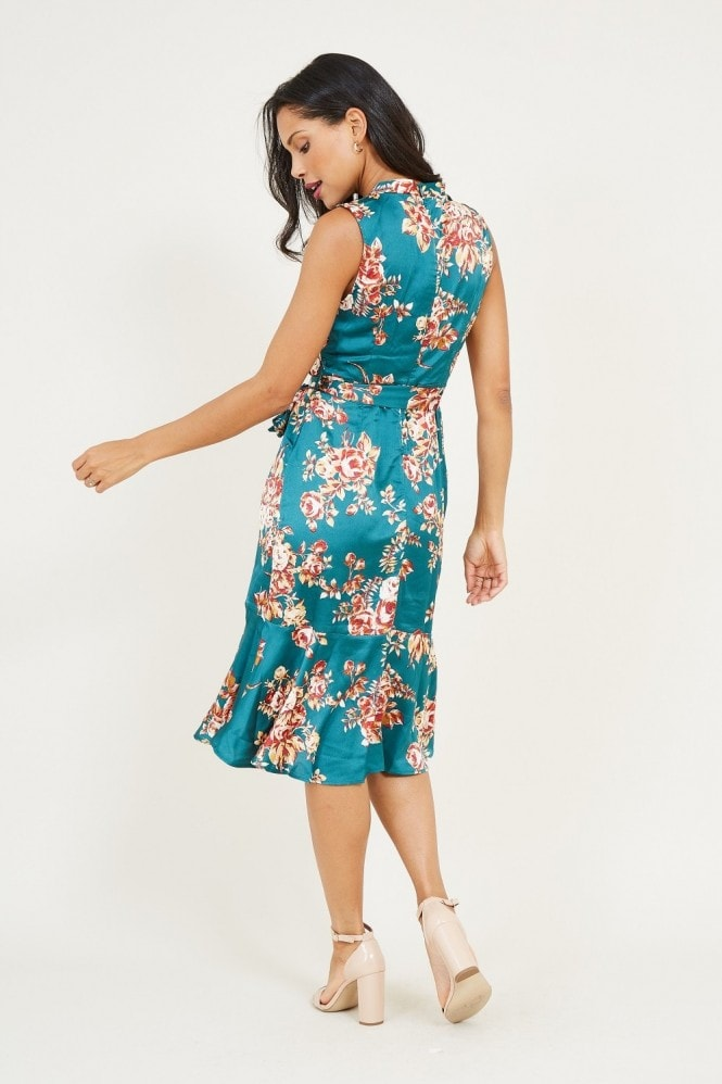 MELA Green Floral Satin Midi Dress